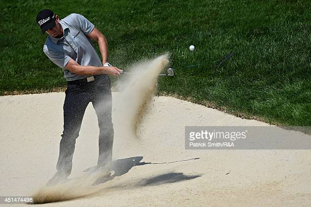 Brendan Steele of the US plays a shot on the 11th hole during the final round of the Quicken Loans National at Congressional Country Club on June 29...
