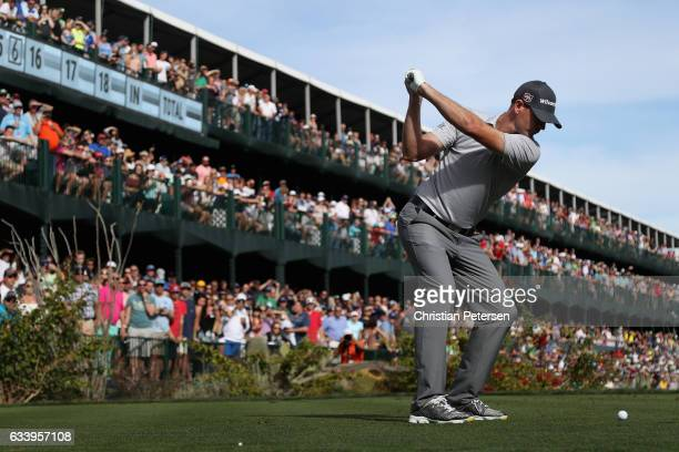 Brendan Steele plays a tee shot on the 16th hole during the final round of the Waste Management Phoenix Open at TPC Scottsdale on February 5 2017 in...