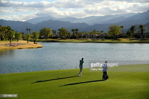 Brendan Steele plays his second shot on the ninth hole during the first round of The American Express tournament on the Jack Nicklaus Tournament...
