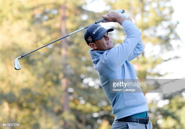Brendan Steele plays his shot from the 12th tee during the first round of the Safeway Open at the North Course of the Silverado Resort and Spa on...