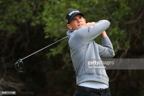 Brendan Steele plays his shot from the 14th tee during the first round of the Valero Texas Open at TPC San Antonio ATT Oaks Course on April 19 2018...