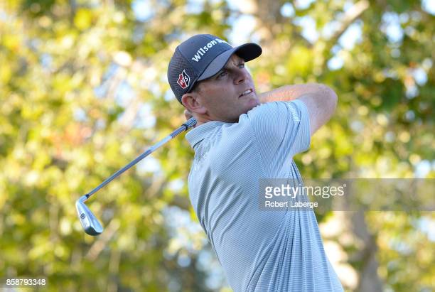 Brendan Steele plays his shot from the 17th tee during the third round of the Safeway Open at the North Course of the Silverado Resort and Spa on...