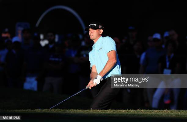 Brendan Steele plays his shot on the 18th hole during the final round of the Safeway Open at the North Course of the Silverado Resort and Spa on...