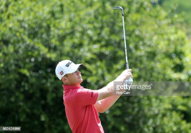Brendan Steele plays his shot on the first hole during the third round of the Zurich Classic at TPC Louisiana on April 28 2018 in Avondale Louisiana