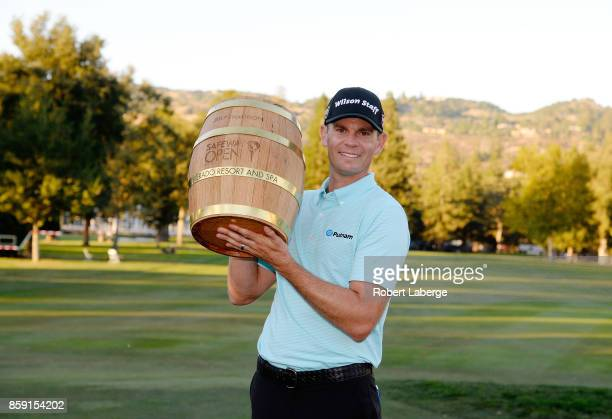 Brendan Steele poses with the trophy after winning The Safeway Open at the North Course of the Silverado Resort and Spa on October 8 2017 in Napa...