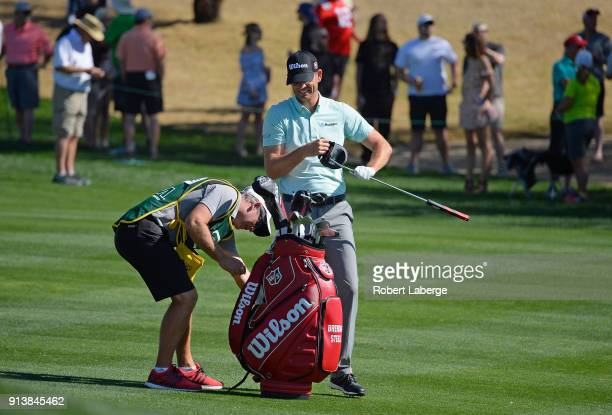 Brendan Steele prepares to hit his second shot on the fifth hole during the third round of the Waste Management Phoenix Open at TPC Scottsdale on...