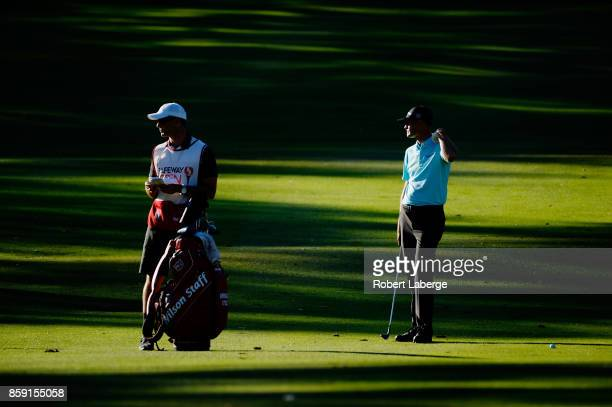 Brendan Steele prepares to play his shot on the 18th hole during the final round of the Safeway Open at the North Course of the Silverado Resort and...