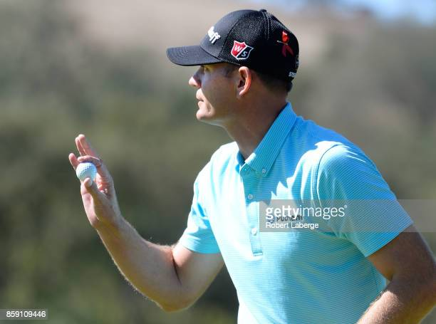 Brendan Steele reacts to his putt on the fifth hole during the final round of the Safeway Open at the North Course of the Silverado Resort and Spa on...