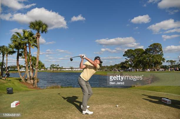 Brendan Steele swings over his ball on the ninth tee during the final round of The Honda Classic at PGA National Champion course on March 1 2020 in...