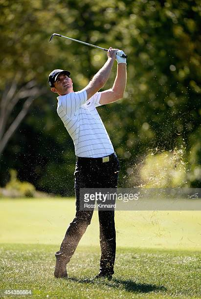 Brendan Steele takes his second shot on the 13th during the second round of the Deutsche Bank Championship at the TPC Boston on August 30 2014 in...