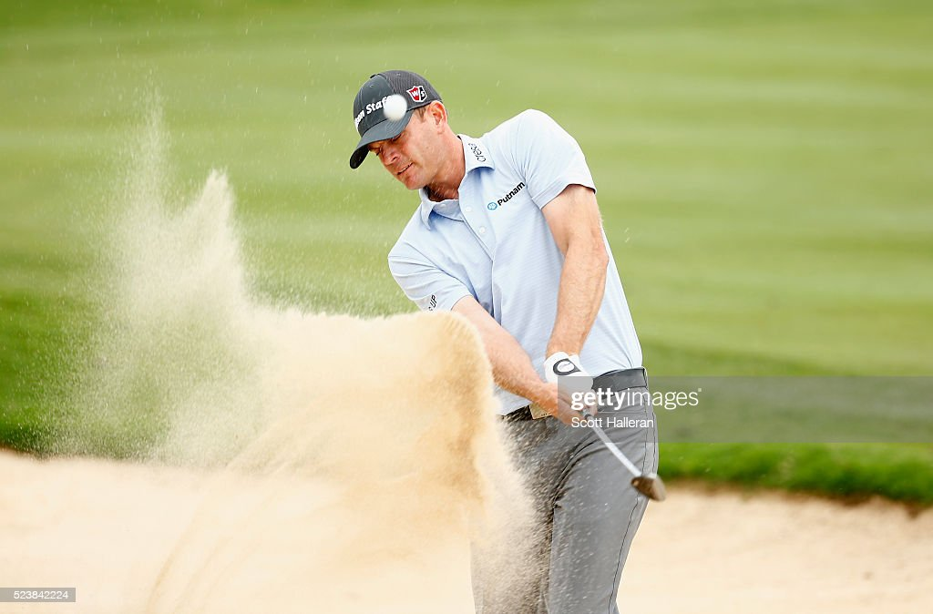 Brendan Steele takes his shot out of the bunker on the fifth hole during the final round of the Valero Texas Open at TPC San Antonio AT&T Oaks Course on April 24, 2016 in San Antonio, Texas.