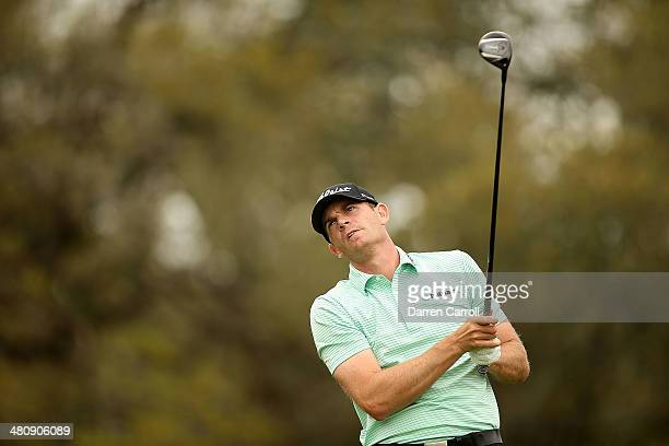 Brendan Steele tees off on the 12th during Round One of the Valero Texas Open at the ATT Oaks Course on March 27 2014 in San Antonio Texas