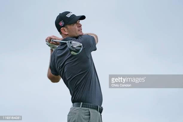 Brendan Steele tees off on the 12th hole during the third round of the Sony Open in Hawaii at Waialae Country Club on January 11 2020 in Honolulu...