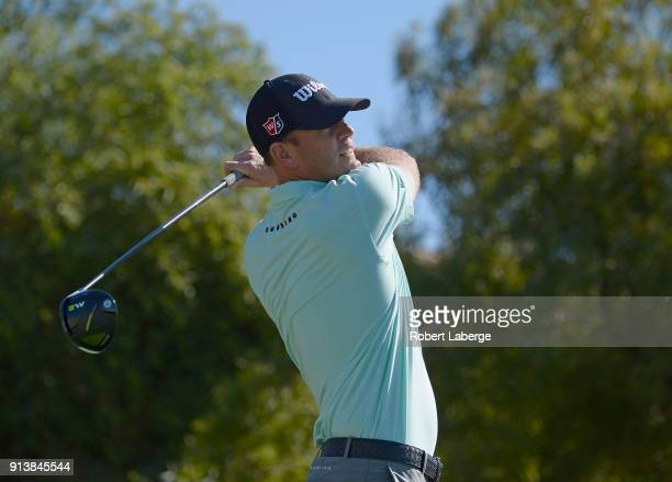 Brendan Steele watches his tee shot on the fifth hole during the third round of the Waste Management Phoenix Open at TPC Scottsdale on February 3...