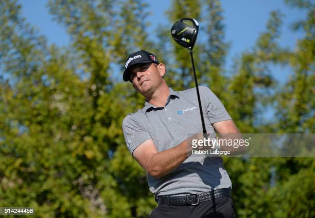 Brendan Steele watches his tee shot on the second hole during the final round of the Waste Management Phoenix Open at TPC Scottsdale on February 4...