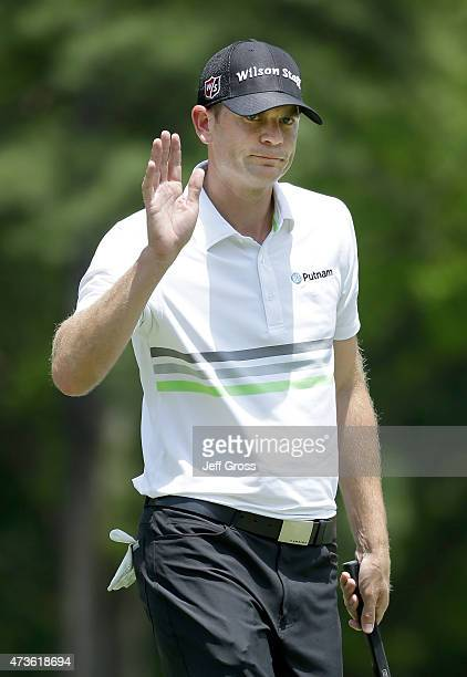 Brendan Steele waves to the gallery after making a birdie putt on the first hole during round three at the Wells Fargo Championship at Quail Hollow...