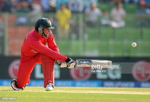 Brendan Taylor captain of Zimbabwe bats during the ICC T20 World Cup match between Ireland and Zimbabwe played at Sylhet International Cricket...