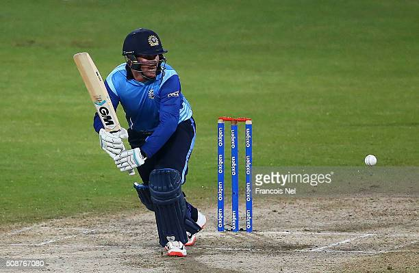 Brendan Taylor of Leo Lions bats during the Oxigen Masters Champions League match between Leo Lions and Sagittarius Strikers on February 6 2016 in...