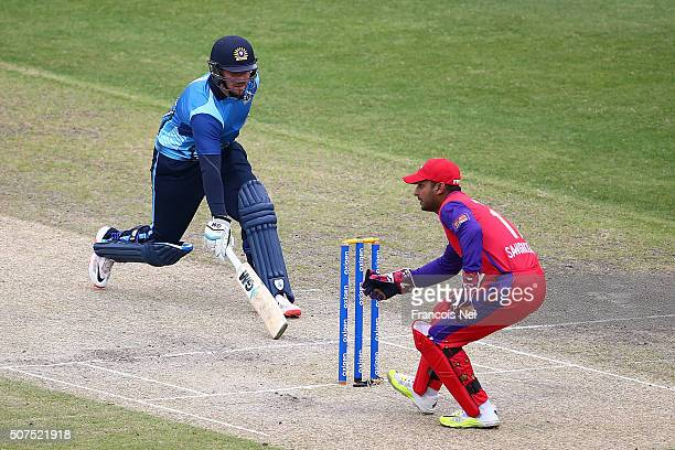 Brendan Taylor of Leo Lions scrambles to safety during the Oxigen Masters Champions League match between Gemini Arabians and Leo Lions on January 30...