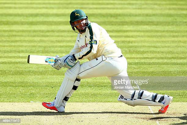 Brendan Taylor of Nottinghamshire hits out during day one of the LV County Championship Division One match between Middlesex and Nottinghamshire at...