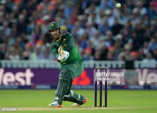 Brendan Taylor of Nottinghamshire hits out during the Natwest T20 Blast Final match between Birmingham and Nottinghamshire at Edgbaston cricket...