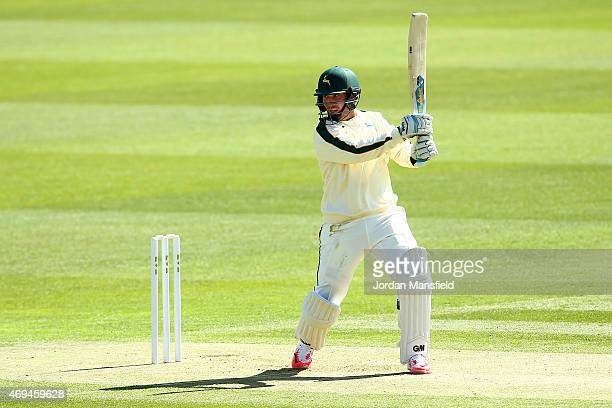 Brendan Taylor of Nottinghamshire hits out for four during day one of the LV County Championship Division One match between Middlesex and...