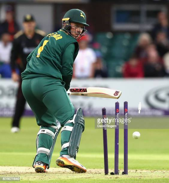 Brendan Taylor of Nottinghamshire is bowled by Dieter Klein during the NatWest T20 Blast match between Leicestershire Foxes and Nottinghamshire...