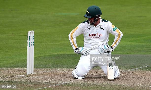 Brendan Taylor of Nottinghamshire looks dejected after he is caught out by Tom Smith off the bowling of Jordan Clark during the Specsavers County...