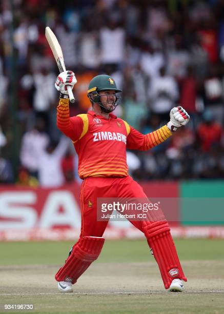 Brendan Taylor of Zimbabwe celebrates his cenury during The Cricket World Cup Qualifier between The West Indies and Zimbabwe at The Harare Sports...