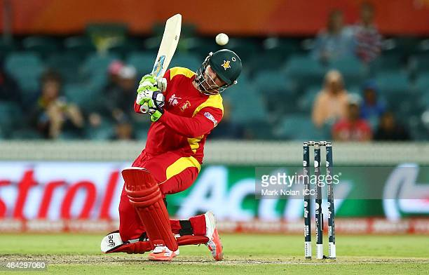Brendan Taylor of Zimbabwe ducks under a bouncer during the 2015 ICC Cricket World Cup match between the West Indies and Zimbabwe at Manuka Oval on...
