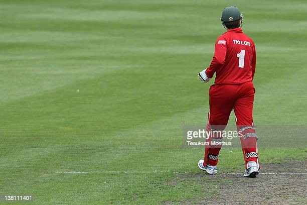 Brendan Taylor of Zimbabwe is dismissed during game one of the International One Day Series between New Zealand and Zimbabwe at University Oval on...