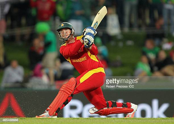 Brendan Taylor of Zimbabwe plays a shot during the 2015 ICC Cricket World Cup match between Zimbabwe and Ireland at Bellerive Oval on March 7 2015 in...