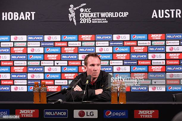 Brendan Taylor of Zimbabwe speaks to media during the 2015 ICC Cricket World Cup match between Zimbabwe and Ireland at Bellerive Oval on March 7 2015...