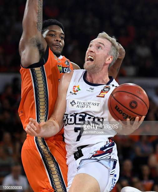 Brendan Teys of the 36ers drives to the basket during the round 16 NBL match between the Cairns Taipans and the Adelaide 36ers at the Cairns...
