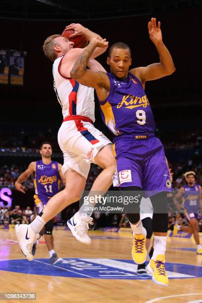 Brendan Teys of the 36ers drives to the basket under pressure from Jerome Randle of the Kings during the round 14 NBL match between the Sydney Kings...