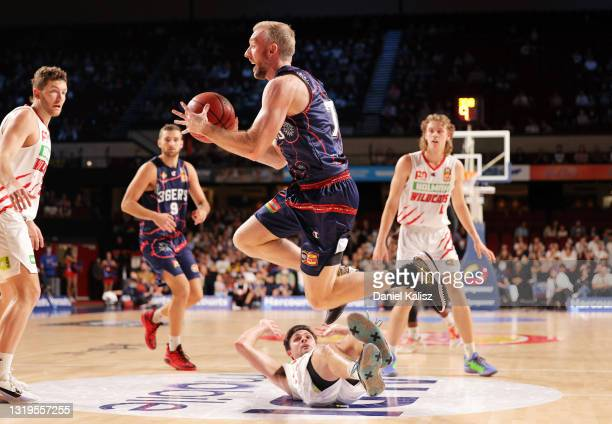 Brendan Teys of the Adelaide 36ers passes the ball during the round 19 NBL match between Adelaide 36ers and Perth Wildcats at Adelaide Entertainment...