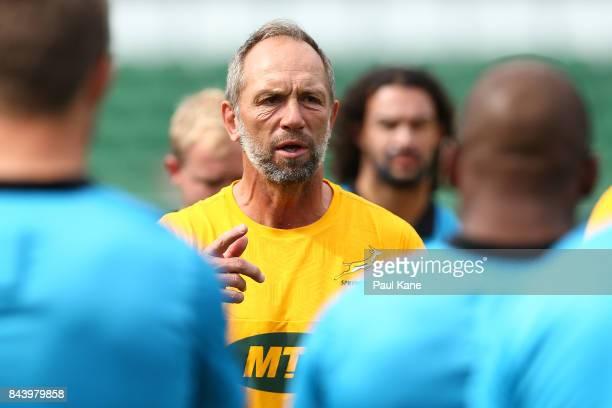 Brendan Venter Springboks defence coach address the players during the South Africa Springboks Captain's Run at nib Stadium on September 8 2017 in...