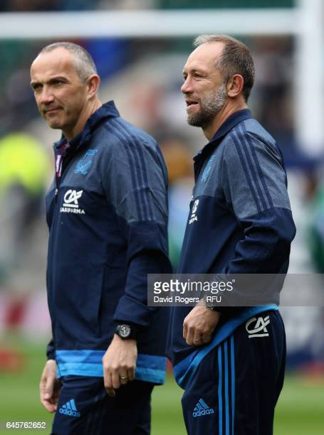Brendan Venter the Italy defence consultant looks on with head coach Conor O'Shea during the RBS Six Nations match between England and Italy at...