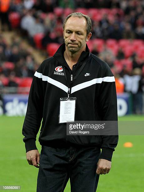 Brendan Venter the Saracens director of rugby looks dejected during the Heineken Cup match between Saracens and Leinster at Wembley Stadium on...