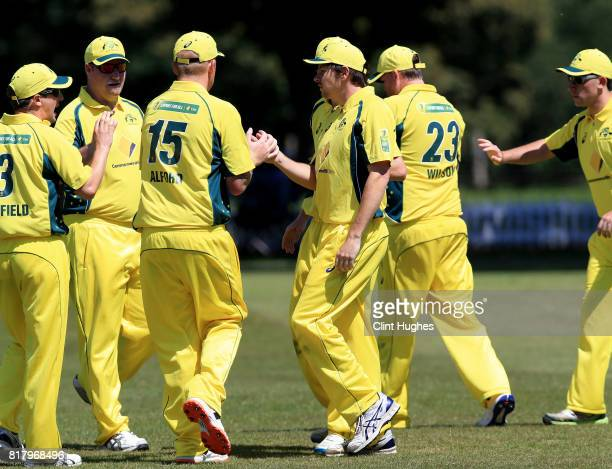 Brendan Westlake of Australia celebrates after he takes a catch to dismiss Jack Perry of England during the T20 INAS TriSeries at Toft Cricket Club...