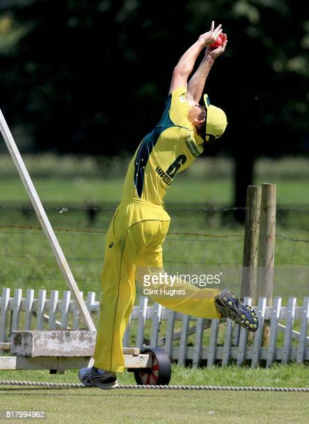 Brendan Westlake of Australia takes a catch to dismiss Jack Perry of England during the T20 INAS TriSeries at Toft Cricket Club on July 18 2017 in...
