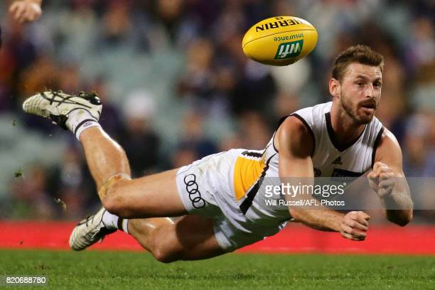 Brendan Whitecross of the Hawks handpasses the ball during the round 18 AFL match between the Fremantle Dockers and the Hawthorn Hawks at Domain...