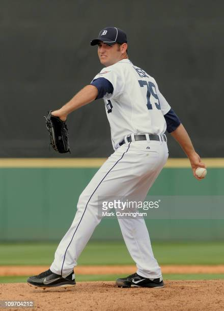 Brendan Wise of the Detroit Tigers pitches against the Toronto Blue Jays during the spring training game at Joker Marchant Stadium on March 1 2011 in...