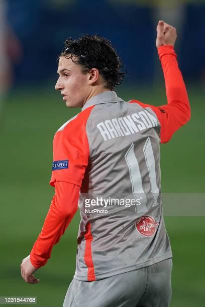 Brenden Aaronson of RB Salzburg gestures during the UEFA Europa League Round of 32 match between Villarreal CF and RB Salzburg at Estadio de la...