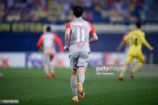 Brenden Aaronson of RB Salzburg runs during the UEFA Europa League Round of 32 second leg match between Villarreal CF and RB Salzburg at Estadio de...