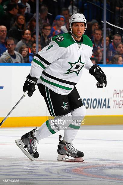 Brenden Dillon of the Dallas Stars skates against the New York Islanders at Nassau Veterans Memorial Coliseum on October 25 2014 in Uniondale New...