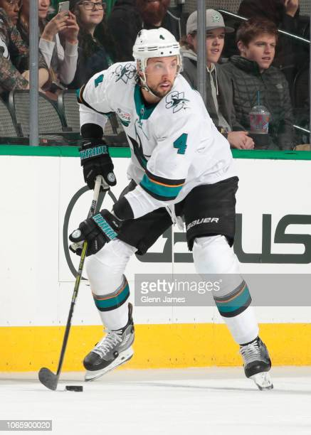 Brenden Dillon of the San Jose Sharks handles the puck against the Dallas Stars at the American Airlines Center on November 8 2018 in Dallas Texas