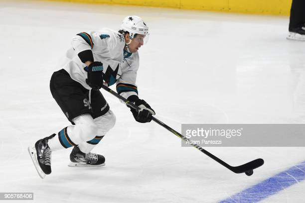 Brenden Dillon of the San Jose Sharks handles the puck during a game against the Los Angeles Kings at STAPLES Center on January 15 2018 in Los...