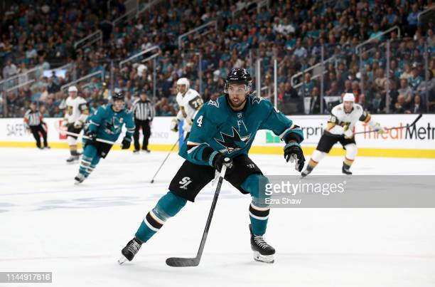 Brenden Dillon of the San Jose Sharks in action against the Vegas Golden Knights in Game Five of the Western Conference First Round during the 2019...