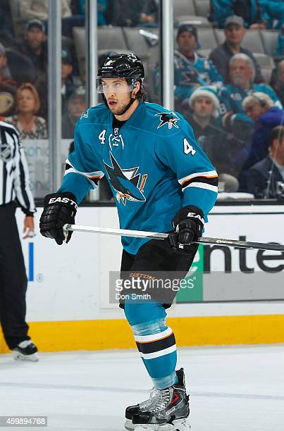 Brenden Dillon of the San Jose Sharks locates the puck against the Anaheim Ducks during an NHL game on November 29, 2014 at SAP Center in San Jose,...